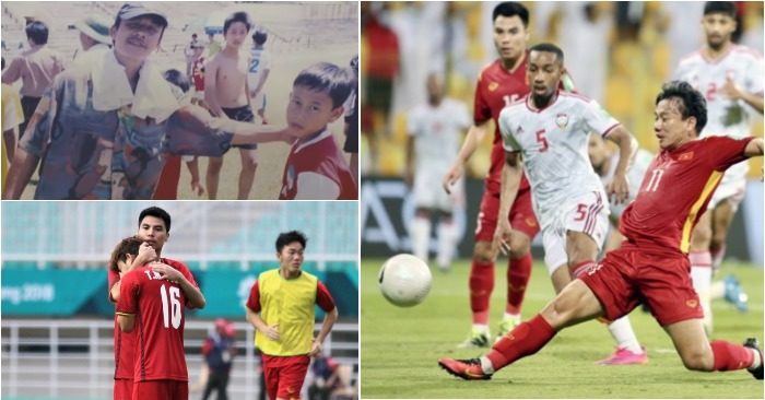 Minh Vương cùng bố khi dự thi vào HAGL; Với Đức Huy khi lên tuyển; Bàn thắng đầu tiên cho đội tuyển quốc gia